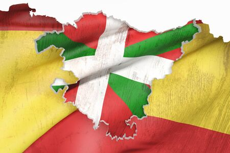 alava: 3d rendering of  map of Basque Country with flag of Spain on background.