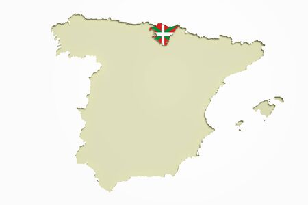 the basque country: 3d rendering of  map of Basque Country and Spain with flag on background.