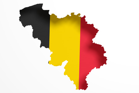 frontage: 3d rendering of Belgium map and flag on white background.