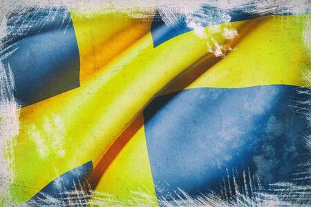 sweden flag: 3d rendering of a Sweden flag