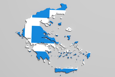 national geographic: 3d rendering of Greece map and flag.