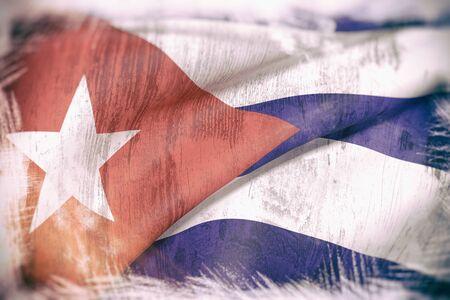 bandera cuba: 3d prestaci�n de un viejo y sucio bandera de Cuba Foto de archivo