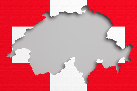 frontage: 3d rendering of Switzerland map and flag on background. Stock Photo