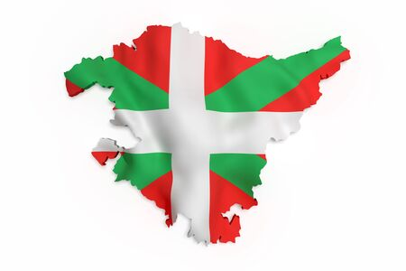 national geographic: 3d rendering of  map of Basque Country with flag