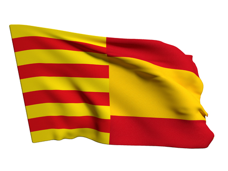 secession: 3d rendering of a catalonia and spain mixed flags, symbol of the attempt of secession of catalonia