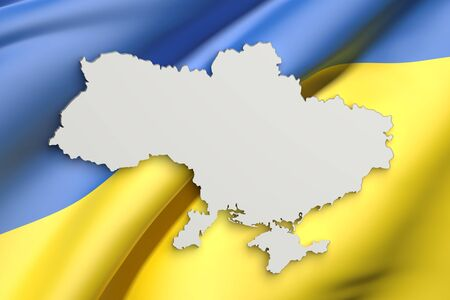 national geographic: 3d rendering of Ukraine map and flag on background. Stock Photo