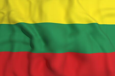 european culture: 3d rendering of a Lithuania flag waving