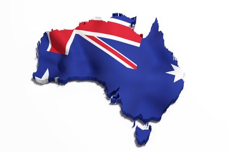 national geographic: 3d rendering of an Australia map and flag