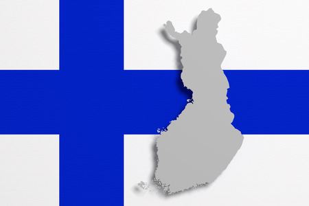 frontage: 3d rendering of Finland map and flag on background.