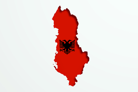 frontage: 3d rendering of Albania map and flag on white background.