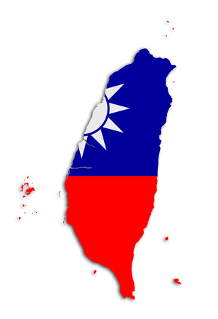 taiwanese: 3d rendering of a Taiwan map with flag Stock Photo