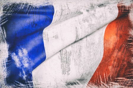 europa: 3d rendering of an old and dirty france flag Stock Photo