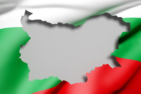 frontage: 3d rendering of Bulgaria map and flag on background.
