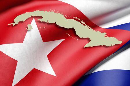 havana cuba: 3d rendering of a Cuba map and flag