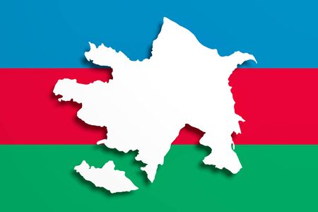 national geographic: 3d rendering of Azerbaijan map and flag