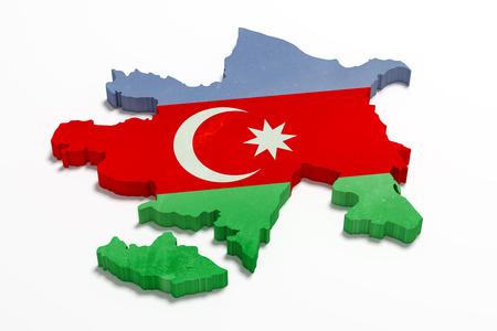 3d rendering of Azerbaijan map and flag