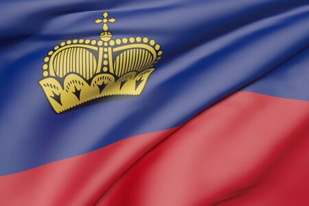 geographical: 3d rendering of Liechtenstein flag waving