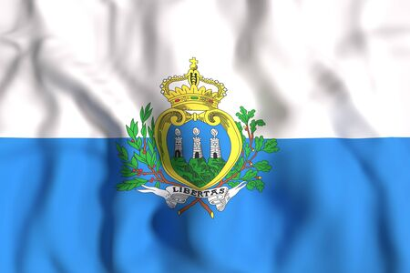 san marino: 3d rendering of San Marino flag waving Stock Photo