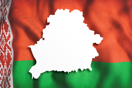 frontage: 3d rendering of Belarus map and flag on background.