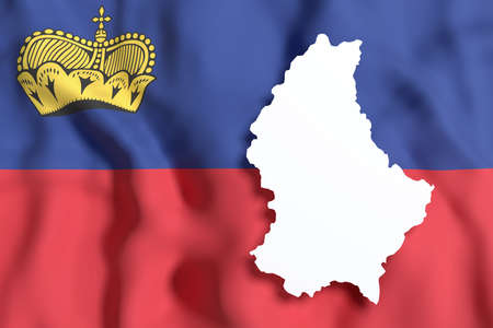 frontage: 3d rendering of Liechtenstein map and flag on background.