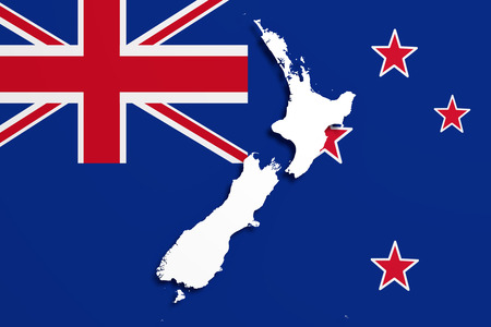 national geographic: 3d rendering of a New Zealand map and flag