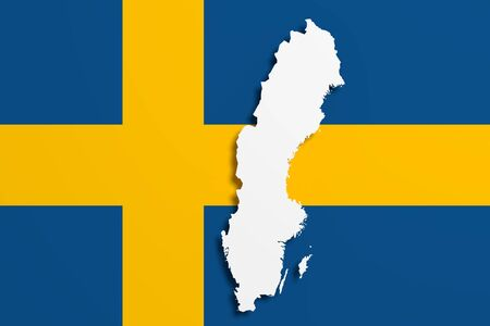 sweden map: 3d rendering of Sweden map and flag on background. Stock Photo