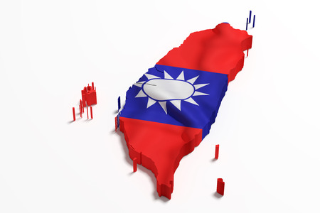 3d rendering of a Taiwan map with flag Stock Photo