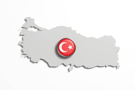 boundaries: 3d rendering of Turkey boundaries and button with flag on white background.