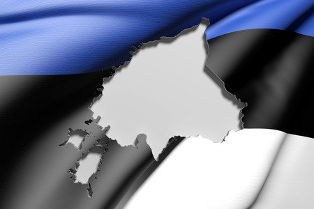 frontage: 3d rendering of Estonia map and flag on background. Stock Photo