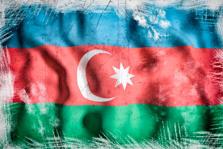 west asia: 3d rendering of an Azerbaijan flag waving