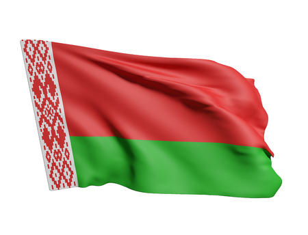 national geographic: 3d rendering of Belarus flag waving on a white background