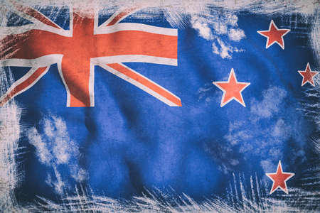 new zealand flag: 3d rendering of a New Zealand flag waving
