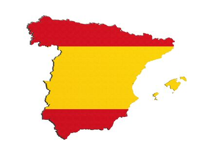 iberian: 3d rendering of Spain map and flag on white background.
