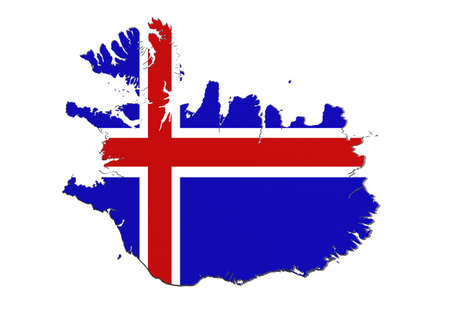 frontage: 3d rendering of Iceland map and flag on white background.