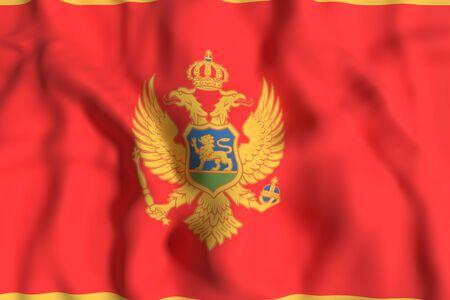 montenegro: 3d rendering of a Montenegro flag waving