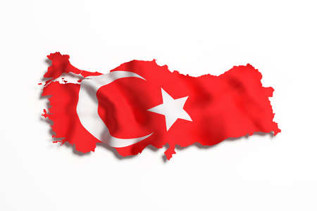 frontage: 3d rendering of Turkey map and flag on white background. Stock Photo