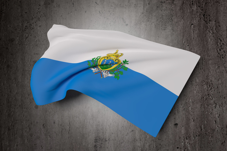 national geographic: 3d rendering of San Marino flag waving on a dirty background