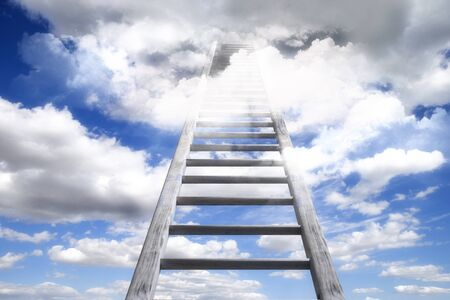 3D rendering of ladder leading to heaven sky