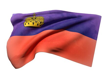 national geographic: 3d rendering of Liechtenstein flag waving