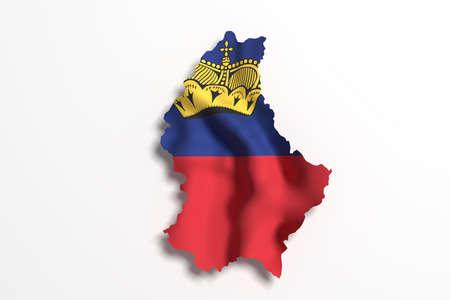 liechtenstein: 3d rendering of Liechtenstein map and flag on white background.