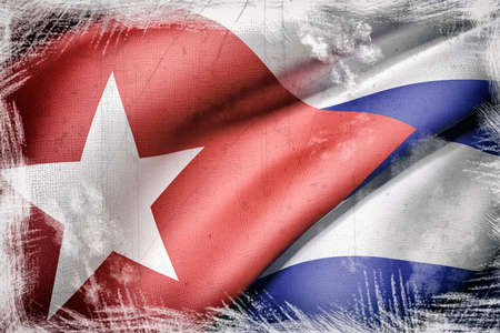 cuba flag: 3d rendering of an old and dirty Cuba flag