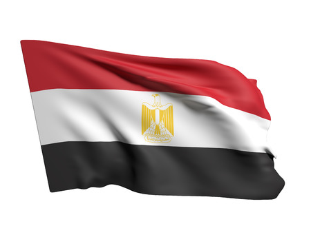 egypt flag: 3d rendering of Egypt flag waving on a white background