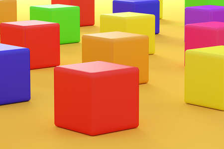 rows: 3D rendering cubes of different colors in rows on orange background. Stock Photo