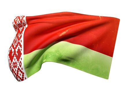 national geographic: 3d rendering of an old and dirty Belarus flag waving on a white background