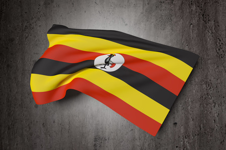 kampala: 3d rendering of Uganda flag waving on a dirty background