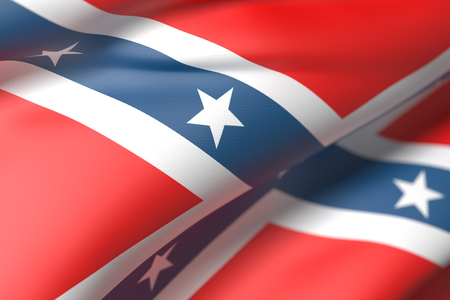 rebel flag: 3d rendering of an old confederate flag