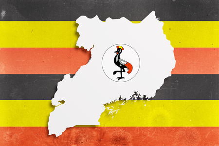 kampala: 3d rendering of Uganda map and flag. Stock Photo