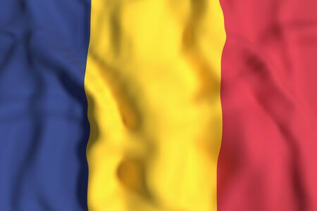 chad flag: 3d rendering of Republic of Chad flag waving