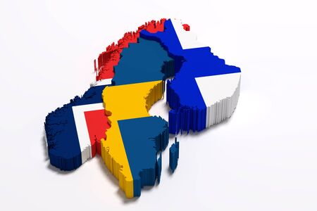 frontage: 3d rendering of Scandinavian peninsula map and flags