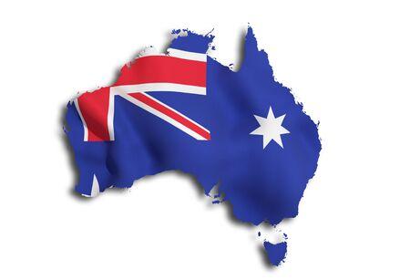 オーストラリア地図と国旗の 3 d レンダリング 写真素材